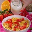 Healthy breakfast cornflakes with milk and fruits — Stock Photo #67549187