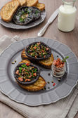 Portobello stuffed with herbs — Stock Photo