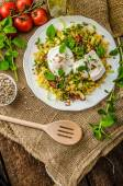 Spring salad of lentils with poached egg — Stock Photo