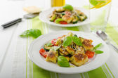Homemade gnocchi with mediterranean vegetables — Stock Photo