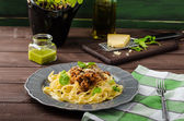 Fettuccine with Bolognese sauce — Stock Photo