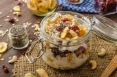Homemade yogurt with granola, dried fruit and nuts bio — Stock Photo