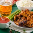 Barbecue grilled chicken wing — Stock Photo #79974100