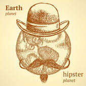 Sketch Earth planet in hipster style — Stock Vector