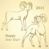 Sketch New Year ram in vintage style — Wektor stockowy