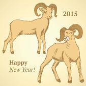 Sketch New Year ram in vintage style — Stockvektor