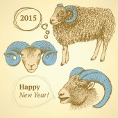 Sketch New Year ram in vintage style — Stock Vector
