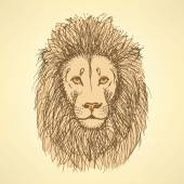 Sketch cute lion in vintage style — Vettoriale Stock