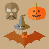 Flat scull, pumkin, hat and bat — Stock Vector