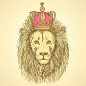 Sketch cute lion with crown in vintage style — Stock Vector