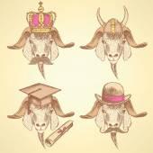 Sketch unusual goats set — Wektor stockowy