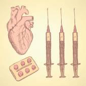 Sketch syringe, pills, human heart — Vector de stock