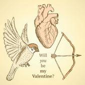 Cute vector set with bird, bow and heart — Stock Vector