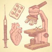 Sketch medical set in vintage style — Vector de stock