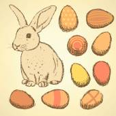 Sketch Easter eggs and bunnyset in vintage style — Stockvektor