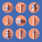 Flat architecture icons — Stock Vector