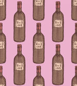 Sketch wine bottle in vintage style — Stock Vector