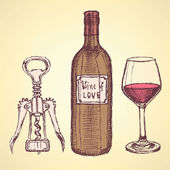 Sketch wine set in vintage style — Vector de stock