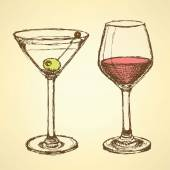 Sketch martini and wine glass in vintage style — Vector de stock