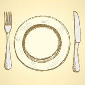 Sketch plate, knife and fork in vintage style — Vector de stock