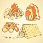 Sketch camping set in vintage style — Vecteur