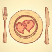 Sketch  hearts on the plate in vintage style — Vecteur
