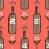 Sketch wine set in vintage style — Vettoriale Stock