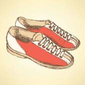 Sketch bowling shoes in vintage style — Stock Vector