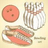 Sketch bowling set in vintage style — Stock Vector