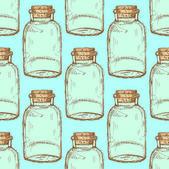 Sketch jar with cork in vintage style — Wektor stockowy
