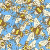 Daisy flower and bees — Stockvektor