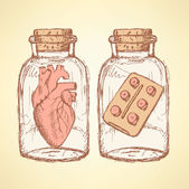 Sketch medical set  in vintage style — Stock Vector