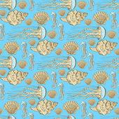 Sketch sea life in vintage style — Stock Vector