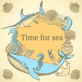 Sketch sea background in vintage style — Vecteur