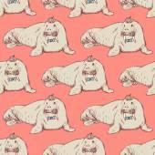 Sketch fancy walrus in vintage style — Stock Vector