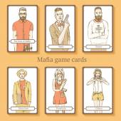 Sketch Mafia cards in vintage style — Stock Vector