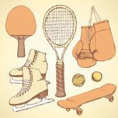 Sketch sport equipment — Wektor stockowy