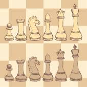 Sketch chess figurel in vintage style — Stock Vector