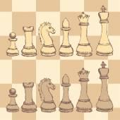 Sketch chess figurel in vintage style — Vector de stock