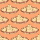 Sketch mexican sombrero in vintage style — Stock vektor
