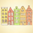 Sketch Amsterdam hauses in vintage style — Stock Vector #73657725