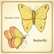Sketch butterfly set in vintage style — Stock Vector #74599351