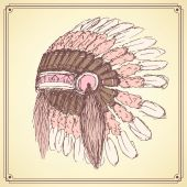 Sketch native american's hat in vintage style — Stock Vector