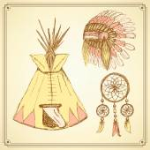 Sketch native american set in vintage style — Stock Vector