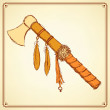 Sketch indian tomahawk in vintage style — Stock Vector #75422537