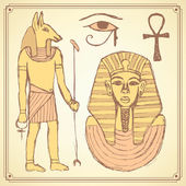 Sketch Egyptian set in vintage style — Stock Vector