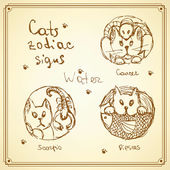 Sketch cats zodiac signs in vintage style — Stock Vector