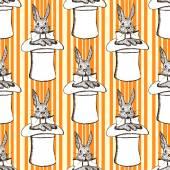 Skica králík v klobouku v retro stylu — Stock vektor