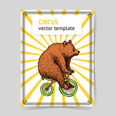 Sketch bear on a bike in vintage style — Stock Vector