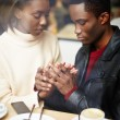 Two people in cafe enjoying the time spending with each other, portrait of young couple in love at coffee shop, young couple at san valentines day, handsome man declaration of love for his girlfriend — Stock Photo #60460051